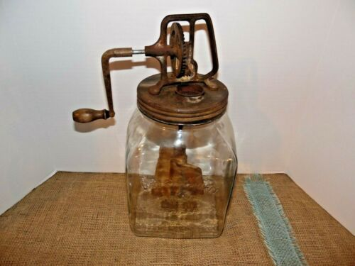 Antique Daisy Butter Churn No. 80  Pat Feb 14, 1922 ~Wood Paddles ~Glass Jar~