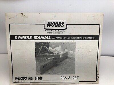 1976 Woods Model Rb6 Rb7 Rear Blade Operators Manual Parts Listassembly Instr
