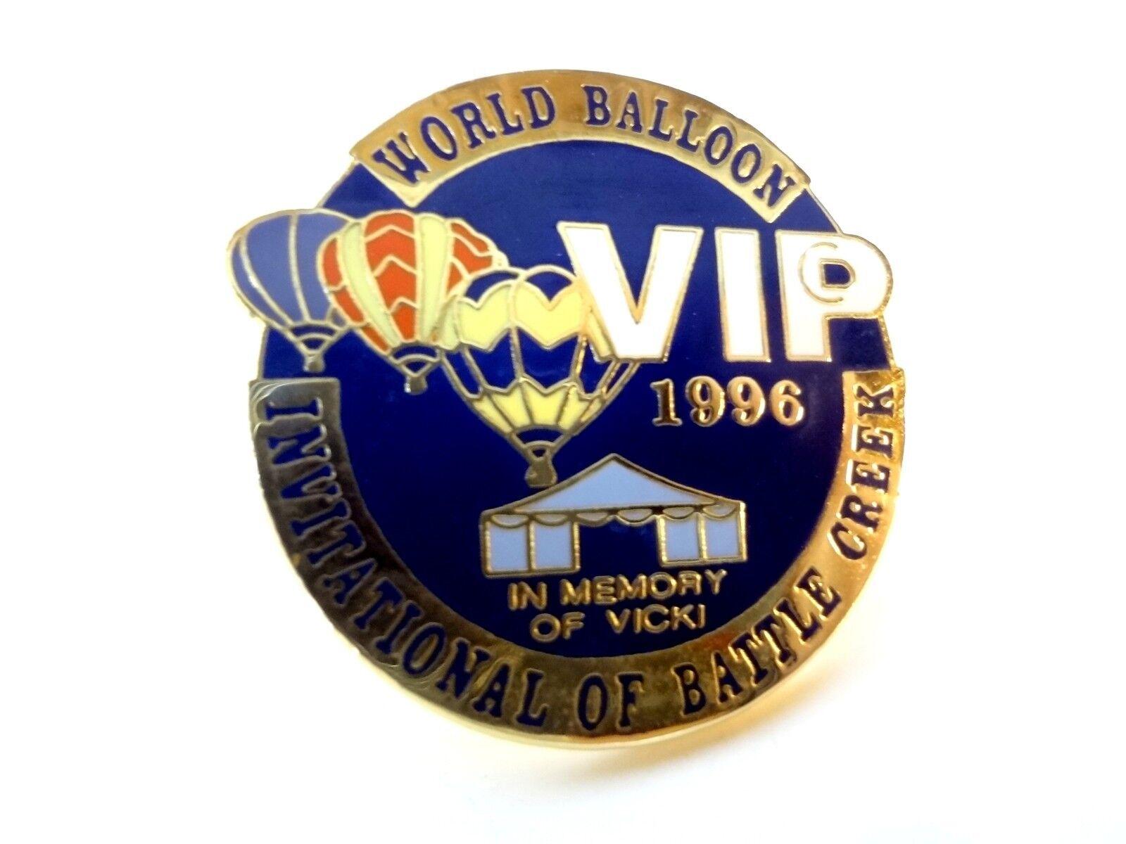 World Balloon Race Invitational Battle Creek Michigan 1996 VIP Lapel Hat Pin Tie
