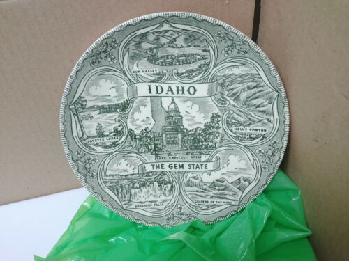 """Idaho Souvenir Plate """"The Gem State"""" green and white"""