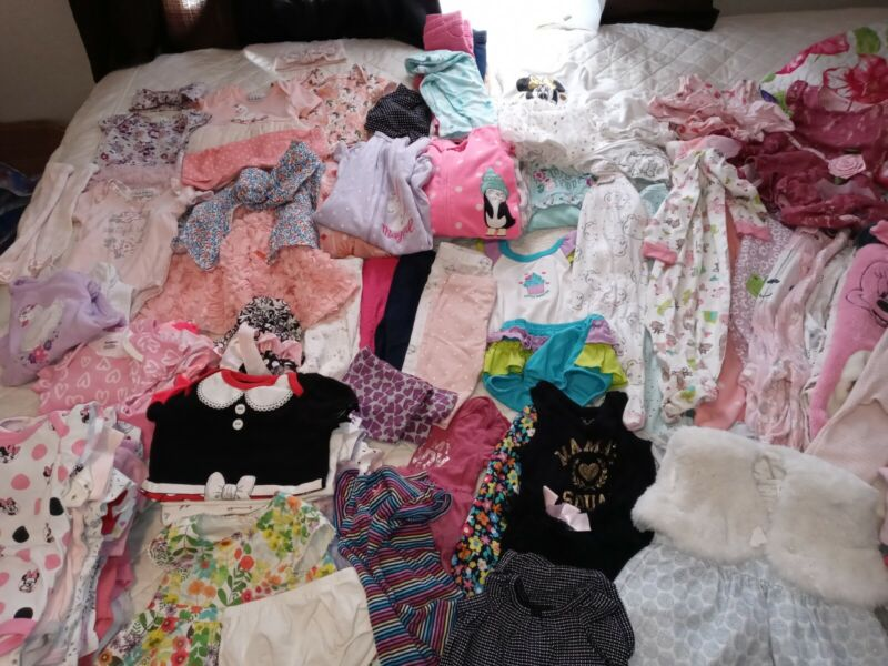 huge +130  piece lot baby girl clothing sizes 3 3-6 6-9 M outfits oneies etc...