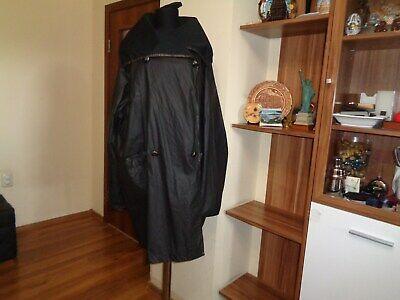 IVAN GRUNDAHL BLACK COATED NYLON OVERSIZED DOUBLE-BREASTED BOXY MAC COAT-SIZE 40