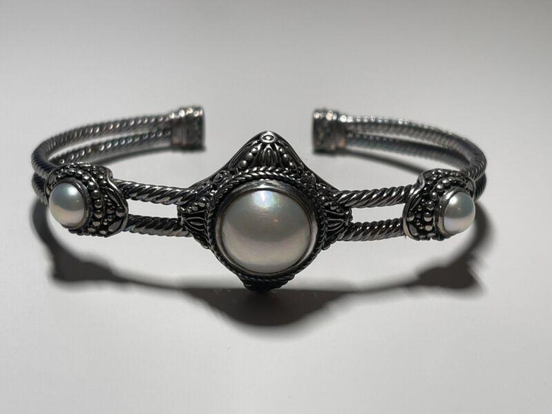 Sarda Sterling Silver White Cultured Mabe Pearl Bali Cuff Bracelet