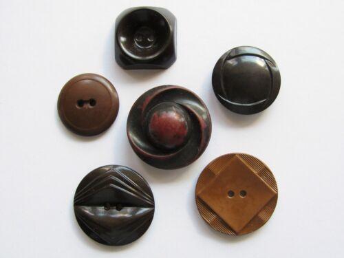 Lot of 6 Vintage Colt Buttons Brown Patterns 1, 2, 26, 29, 66, 80, Lot 13