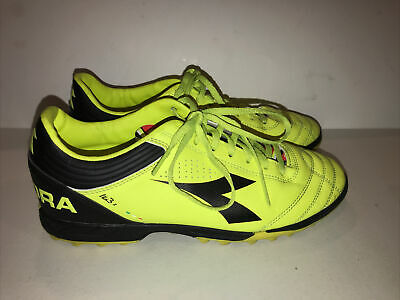 Diadora Ita3 Junior Yellow Black Kids Youth Soccer Cleats Boys Girls size 7.5