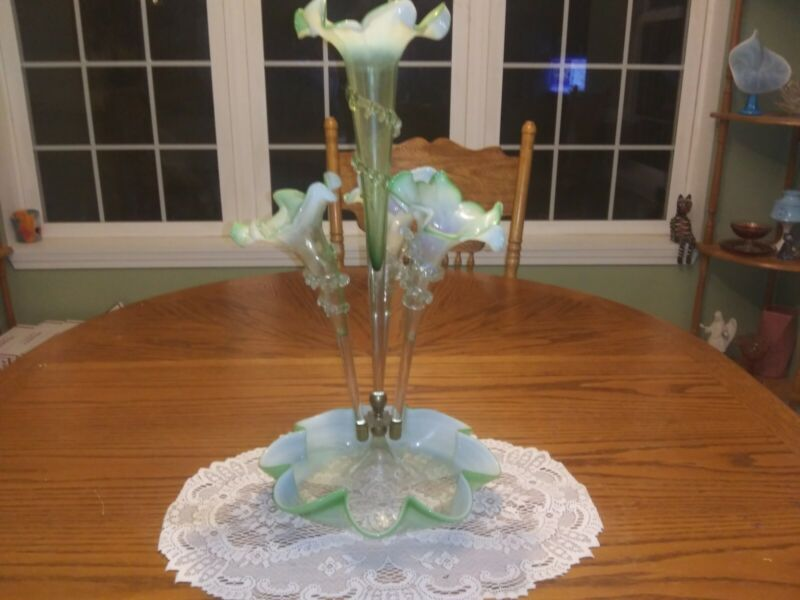 Antique Victorian Green Opalescent Art Glass Epergne