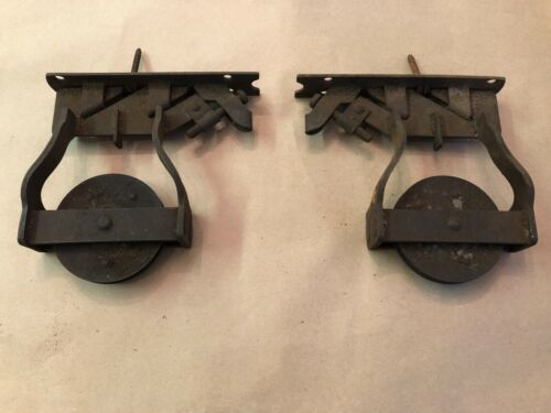 Pair Antique Barn Door Roller Top Assembly Hanger Architectural Hardware