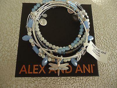 Alex And Ani Dragonfly Set Of 5 Bracelets Shiny Silver New W  Tag Card   Box