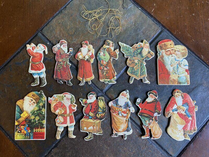 Vintage Merrimack Die Cut Christmas Ornaments Cardboard Santa 1977 Lot Of 12