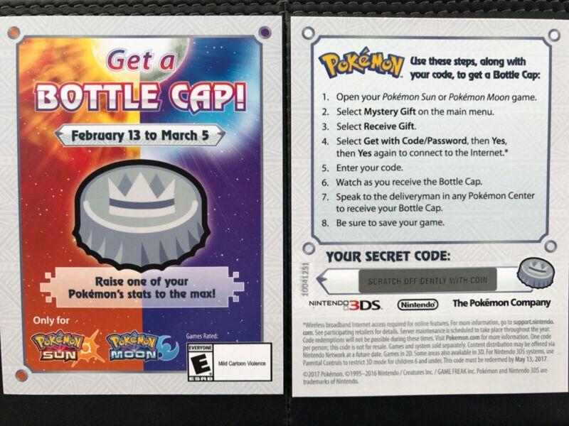 Nintendo Pokemon Sun Moon Top Event Bottle Cap Promo Card