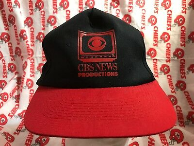 Vintage 80S Trucker Hat Snapback Cbs News Productions Tv Cap Red Black  B2 086