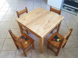 Kids timber table and chair set Wembley Downs Stirling Area Preview