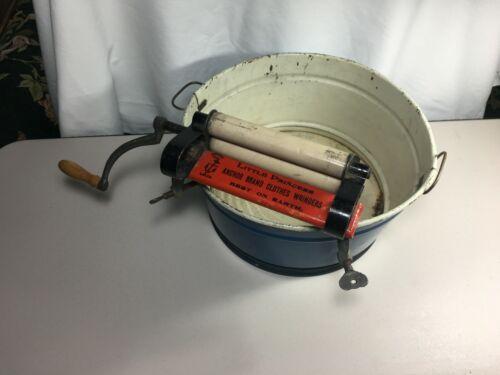 Vintage Child's Blue Washtub and Anchor Brand Clothes Wringer Sample 1920s