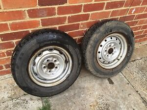 """Trailer 14"""" rims 5 stud Ford pattern x2 tyres 185/75/14 C Sunshine Brimbank Area Preview"""