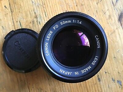 Canon FD 50mm f1.4. Fully and correctly working and guaranteed.