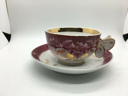 Unmarked Butterfly Handle Tea Cup and Saucer Pairing