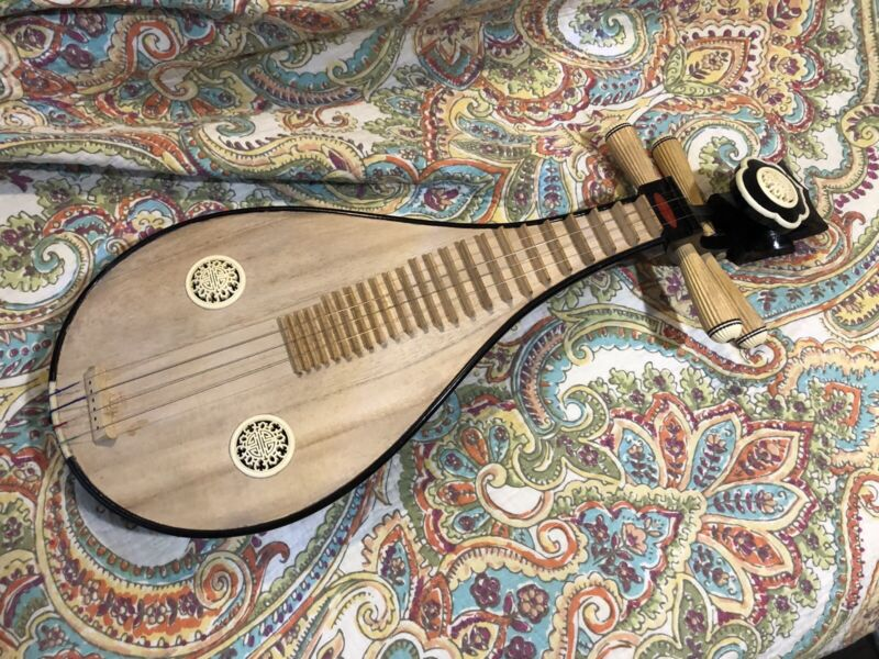 Chinese Liuqin Lute Pipa 4 String Traditional Oriental Instrument
