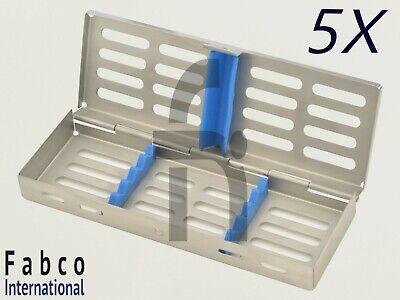 5 German Dental Autoclave Sterilization Cassette Rack Box Tray For 5 Instrument
