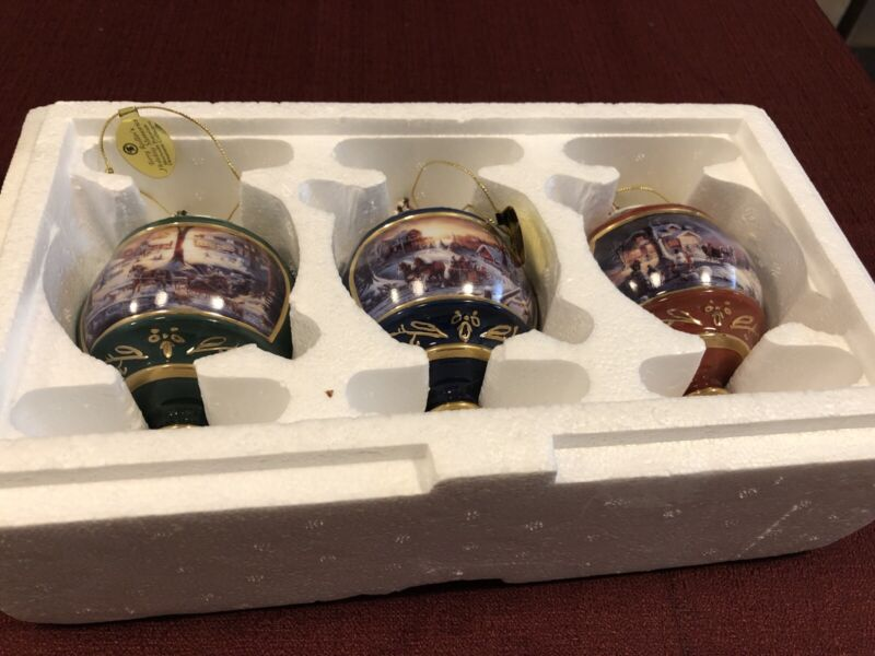 3 Brand New Terry Redlin Porcelain Christmas Ornament, Bradford Editions.