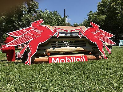 Antique Vintage Old Style Mobil Pegasus Left And Right Sign   Sale