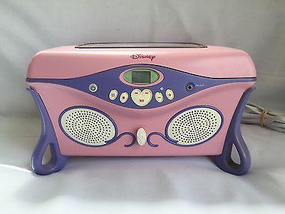 Disney Princess CD Player Jukebox Jewelry Box Pink WORKS GREAT