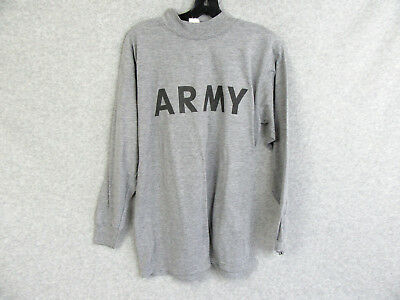 US Army All Ranks Specialties Athletic PT Ground Air Crew L/S Gray T-Shirt Tee S