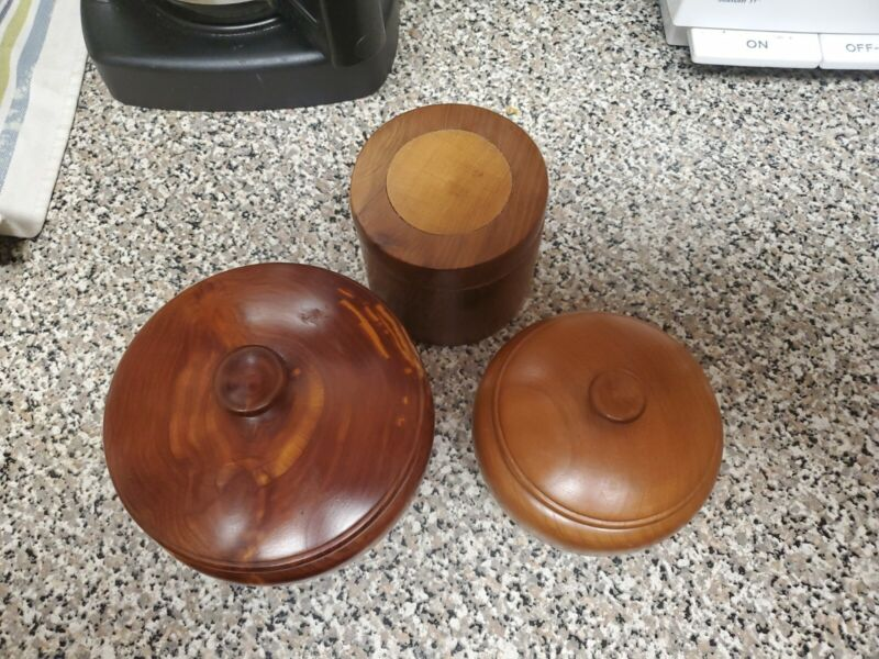 HAND MADE WOODEN TRINKET BOXES WITH LIDS
