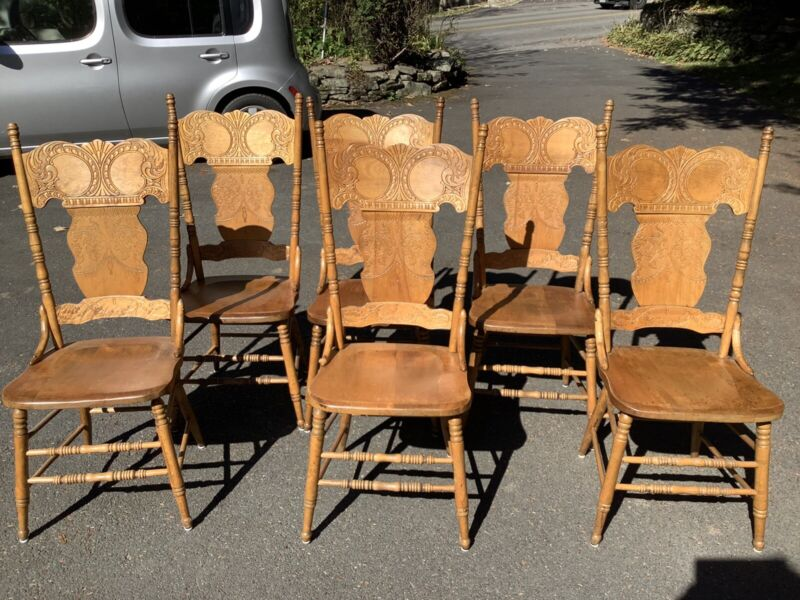 Set of 6 Beautiful Antique Carved English Pub Pressed Wood Chairs