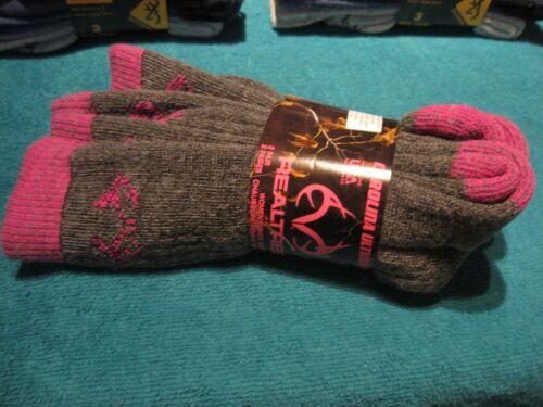 2 Pair Womens Realtree All Season Boot Socks Sz 6-9 Gray & Pink Trim