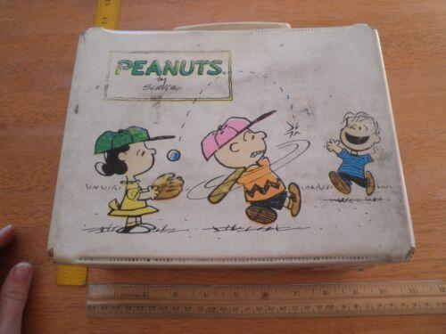Peanuts 1972 white vinyl lunchbox Snoopy Charlie Brown baseball Linus VINTAGE