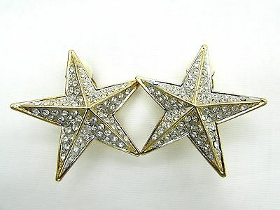 (18k Gold Plate two tone Star Swarovski Element Austrian Crystal Clip On Earrings)