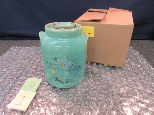 Antique Pottery Stoneware Crock Jar Jug Flowers Hand Painted Green Blue Churn