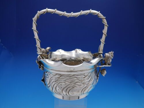 Number 41 by Meriden Silverplate Basket with Squirrel with Applied Roses (#4504)
