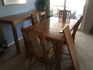 Solid Oak Dining Room Table w/ Leaf and matching Buffet