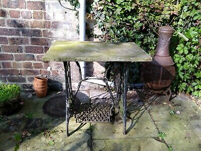 Repurposed Yorkshire Stone Garden Table with Singer Sewing Machine Treadle Base