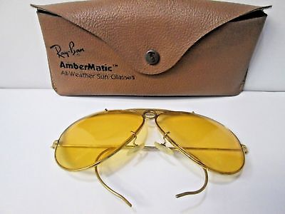 EARLY 1970's BAUSCH & LOMB RAY-BAN ARISTA AMBERMATIC SHOOTER AVIATOR SUNGLASSES