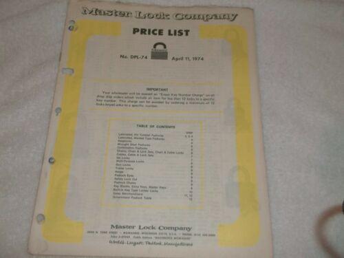 Master Lock Company Price List  No. DPL-74   April 11, 1974
