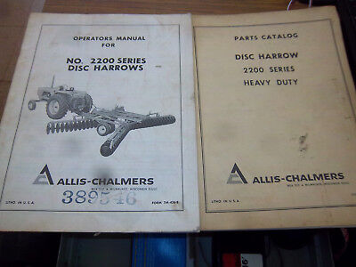 Allis-chalmers 2200 Series Disc Harrow Partsoperator Manualoriginal1969lot