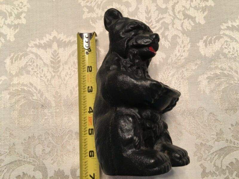 Vintage cast iron black bear bank