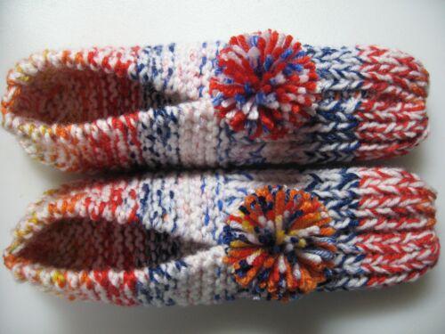 """NWOT Amish Handmade House Slippers White/Orange/Blue  Wms X Lg Mans Med/Lg 10"""""""