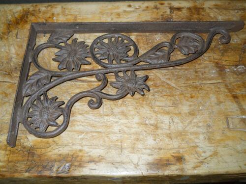2 Cast Iron Antique Style SUNFLOWER Brackets, Garden Braces Shelf Bracket