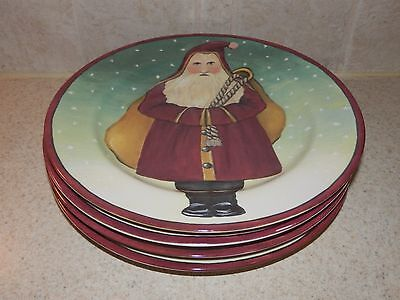 """BLOCK CHINA FATHER CHRISTMAS SET OF 4 SALAD PLATES 8"""" EXCELLENT!"""