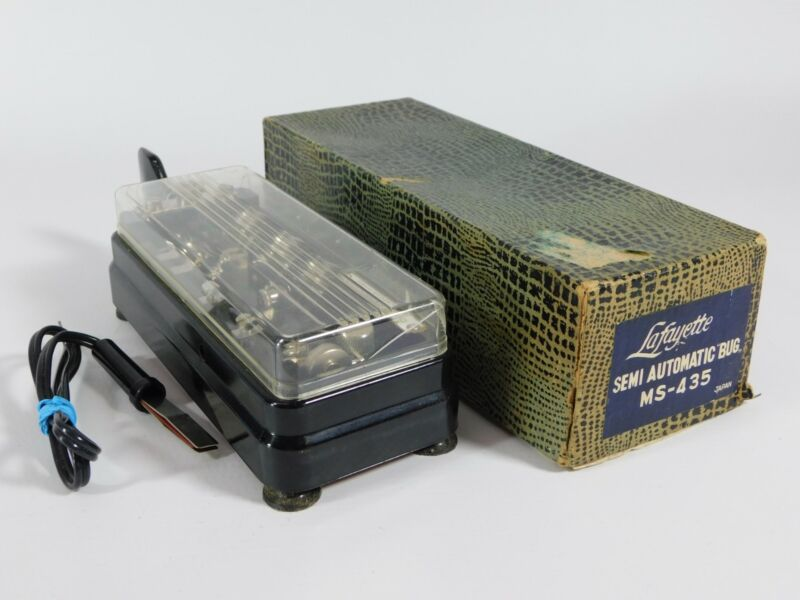 Lafayette MS-435 Semi-Automatic Ham Radio Bug Telegraph Key w/ Box (very nice)