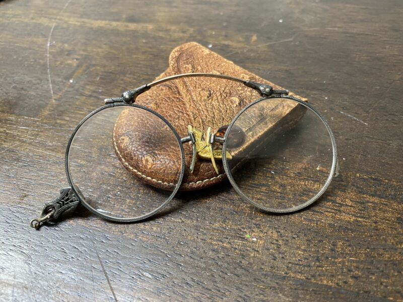 ANTIQUE 14K Gold Spring T&P SPECTACLES Opera Glasses W/ CASE