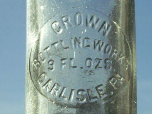 Clear embossed Crown Bottling Works 9 oz. Soda Bottle. Carlisle, Pa.