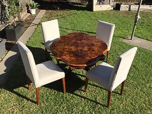 Antique Burr Walnut Tilt Loo Dining Table & 4 Free Suede Chairs Keilor Brimbank Area Preview