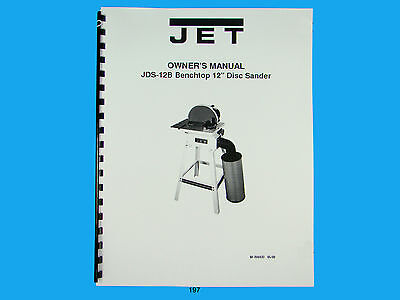 Jet  Jds-12b Benchtop 12 Disc Sander Owners Manual 197
