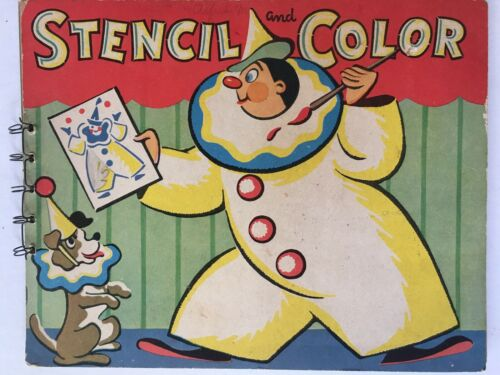 Vintage Stencil And Color Art Book Great Retro GRAPHICS 1940s - $6.95