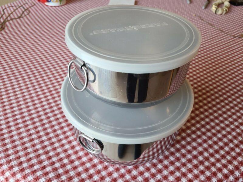 Vtg Farberware Nesting Set of 2 Stainless Steel Mixing Bowls w/ D Thumb Rings