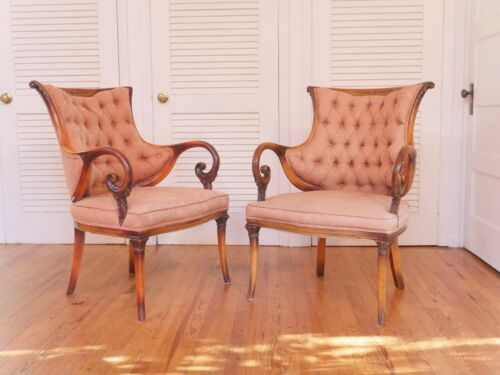Pair of Antique Scroll arm upholstered armchairs, Victorian, Regency style